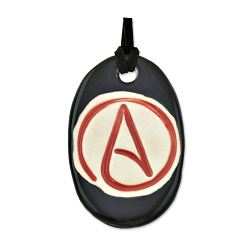 Circle A for Atheist Oblong Ceramic Necklace - [2 1/4'' Tall]