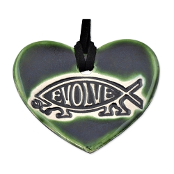 EvolveFish Heart Ceramic Necklace - [2 1/2