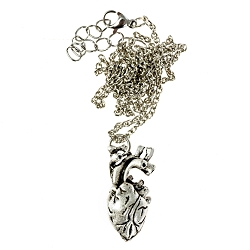 Anatomical Heart Necklace - [Silver][1 1/8'' Tall]