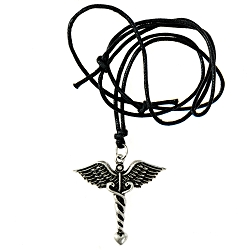 Caduceus Necklace - [Silver][1 1/2'' Tall]