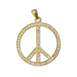 Peace Sign with Rhinestones Pendant - [1 3/4'' Diameter]