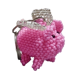 Flying Pig Beaded Key Chain - [Pink][1'' Tall]