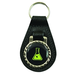 Chemistry Beaker Black Leather Key Chain Fob - [3