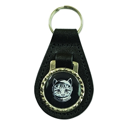 Space Cat Black Leather Key Chain Fob - [3