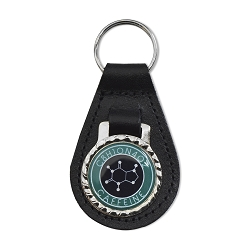 Caffeine Molecule Black Leather Keychain Fob - 3