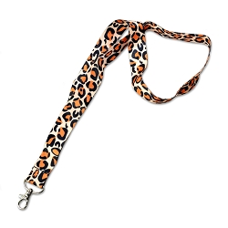 Leopard Print Orange & Black Lanyard - [19
