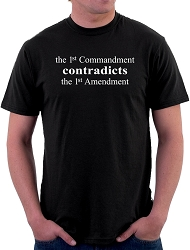 AronRa The 1st Commandment Contradicts the 1st Amendment Men's Cotton Crew Neck T-Shirt