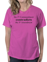 AronRa The 1st Commandment Contradicts the 1st Amendment Women's Cotton Crew Neck T-Shirt