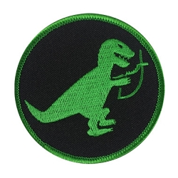 T-Rex Eating Christian Fish Embroidered Patch - [3'' Diameter]