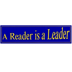 A Reader is a Leader Blue Bumper Sticker 11