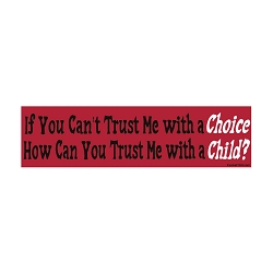 If You Can't Trust Me with a Choice How Can You Trust Me with a Child Bumper Sticker 11