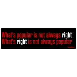What's Popular is Not Always Right Bumper Sticker 11