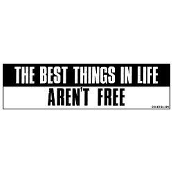 The Best Things in Life Aren't Free Bumper Sticker - [11'' x 3'']