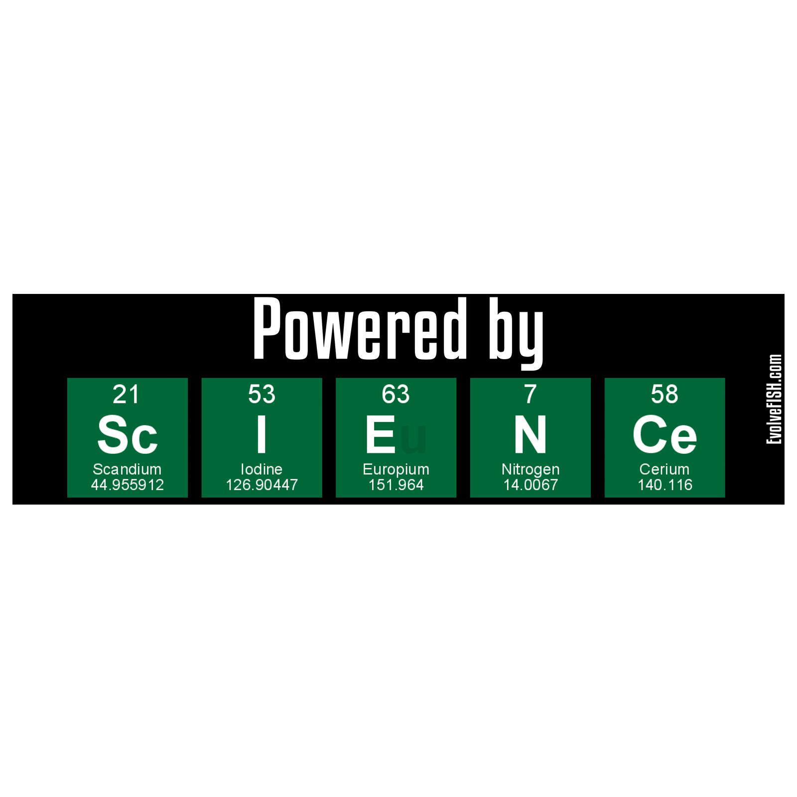 11 x 3 EvolveFISH Powered by Science Bumper Sticker