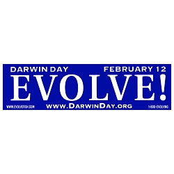 Evolve Darwin Day Bumper Sticker - [11'' x 3'']