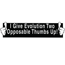 I Give Evolution Two Opposable Thumbs Up Bumper Sticker - [11'' x 3'']