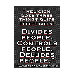 Religion Does Three Things Effectively Divide Control Delude Bumper Sticker - [3.5'' x 5.25'']