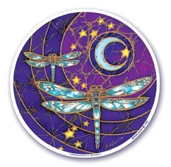 Dragonfly Moon Mandala Arts Translucent Window Sticker - [4.5