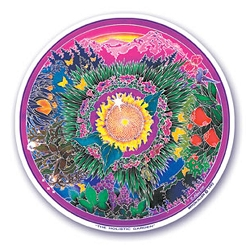 Holistic Garden Mandala Arts Translucent Window Sticker - [4.5'' Diameter]