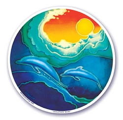 Dolphin Sun Mandala Arts Translucent Window Sticker - [4.5
