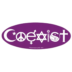 Coexist Oval Bumper Sticker  - [9'' x 3.5'']