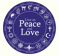 Live in Peace and Love Interfaith Round Bumper Sticker - [6'' Diameter]