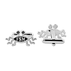 FSM Flying Spaghetti Monster Silver Cufflinks - 1