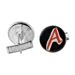 Scarlet A for Atheist Ceramic Silver Cufflinks - 3/4