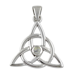 Triquetra Gemstone Sterling Silver Pendant - 1.25