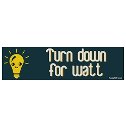 Turn Down for Watt Bumper Sticker 11