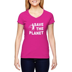 Save the Planet Toss Religion Women's Cotton V-Neck T-Shirt
