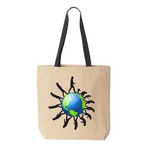 Evolution Ring Natural Canvas Tote - [Black Handle]