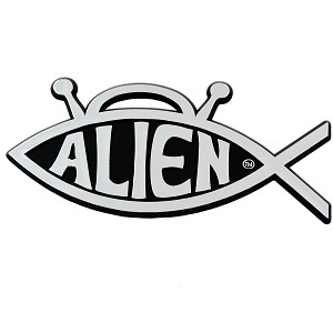 "Alien Fish Chrome Auto Emblem - 5"" x 2.75"""