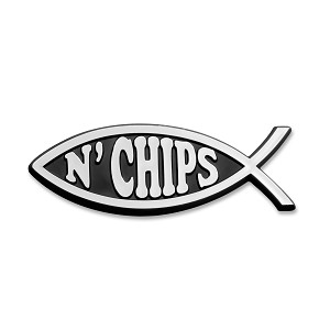 "Fish n' Chips Chrome Auto Emblem - 4.75"" x 1.75"""