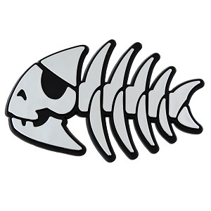 "FSM Jolly Pirate Fish Plastic Auto Emblem - [Silver][4.25"" x 2.75""]"