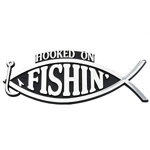 "Hooked on Fishing Chrome Auto Emblem - 5.25"" x 2.25"""