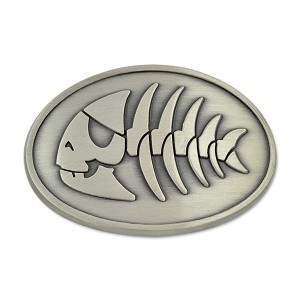 FSM Jolly Pirate Fish Belt Buckle - [Antique Silver][3' Wide x 2' Tall]