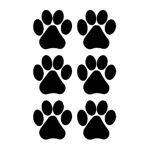 Dog Paw Prints Silhouette Weatherproof Vinyl Decal
