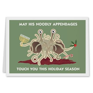 FSM Flying Spaghetti Monster May His Noodly Appendages Touch You Holiday Card