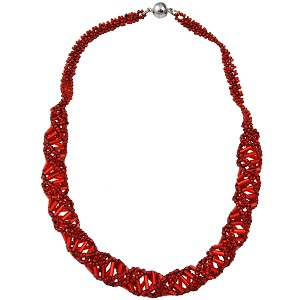"DNA Red Beaded Necklace - [18"" Long]"