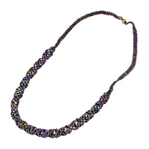 "DNA Purple Iris Beaded Necklace - [18"" Long]"