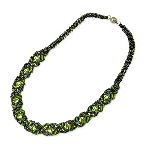 "DNA Green Iris & Lime Beaded Necklace - [18"" Long]"