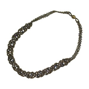 "DNA Brown Iris Beaded Necklace - 18"" Long"