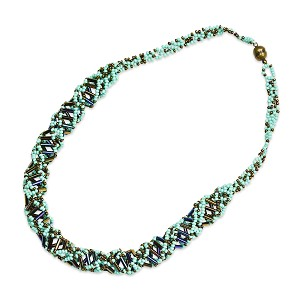 "DNA Turquoise & Bronze Beaded Necklace - [18"" Long]"