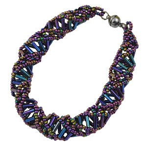 "DNA Purple Iris Beaded Bracelet - 9.5"" Long"