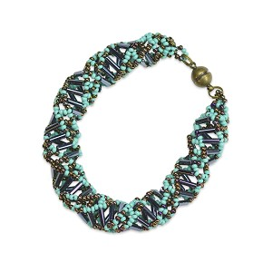 "DNA Turquoise and Bronze Beaded Bracelet - [9.5"" Long]"