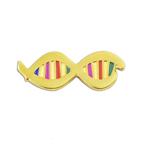"DNA with Color Lapel Pin - [Gold][1"" Wide]"