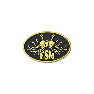 "FSM Flying Spaghetti Monster Oval Lapel Pin - [Gold][1"" Wide]"