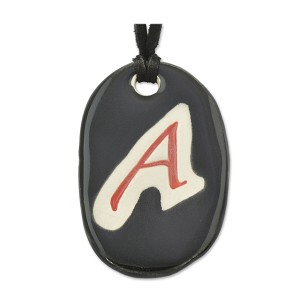 "Scarlet A for Atheist Ceramic Necklace - 2"" Tall"