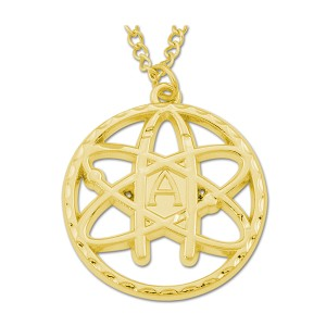 "Atheist Atom Round Necklace - [Gold][1 1/2"" Diameter]"